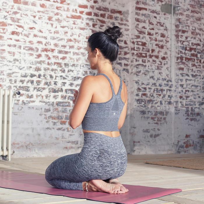 Lang naadloos sporttopje voor dynamische yoga gemêleerd grijs