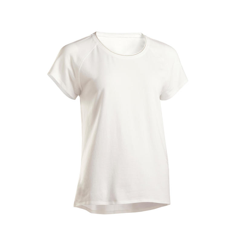 vax klippa Upplysa  T shirt i ekobomull mjuk Yoga Dam   Domyos by Decathlon