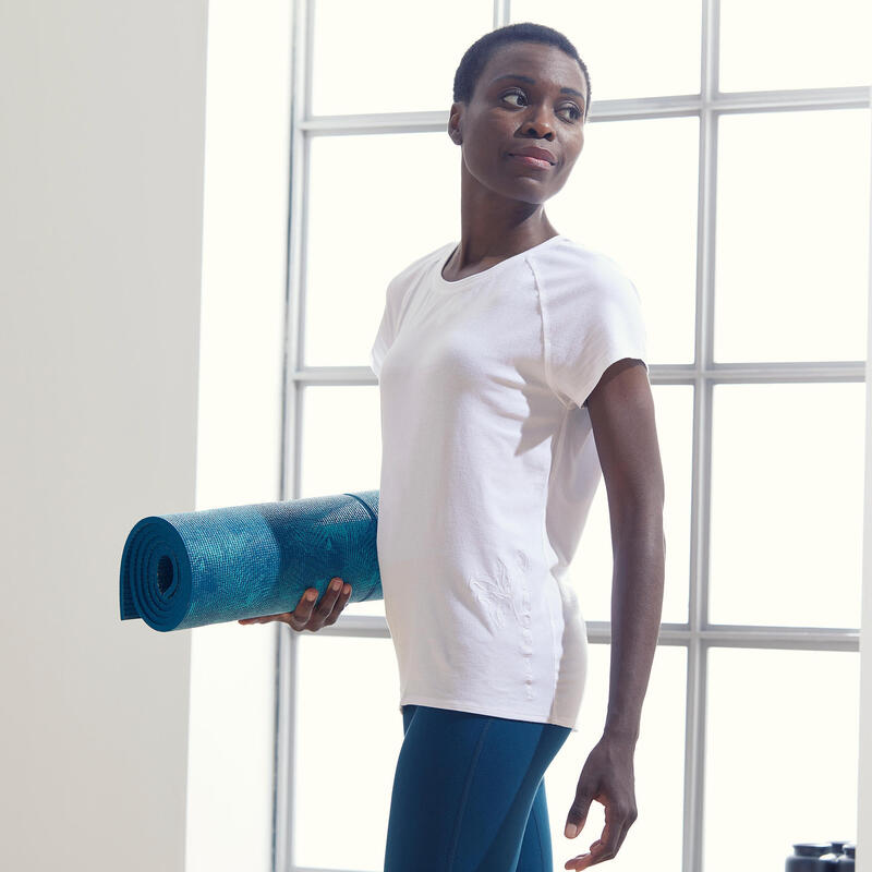 Camiseta Mujer Manga Corta Oversize Yoga Ecofriendly Blanco