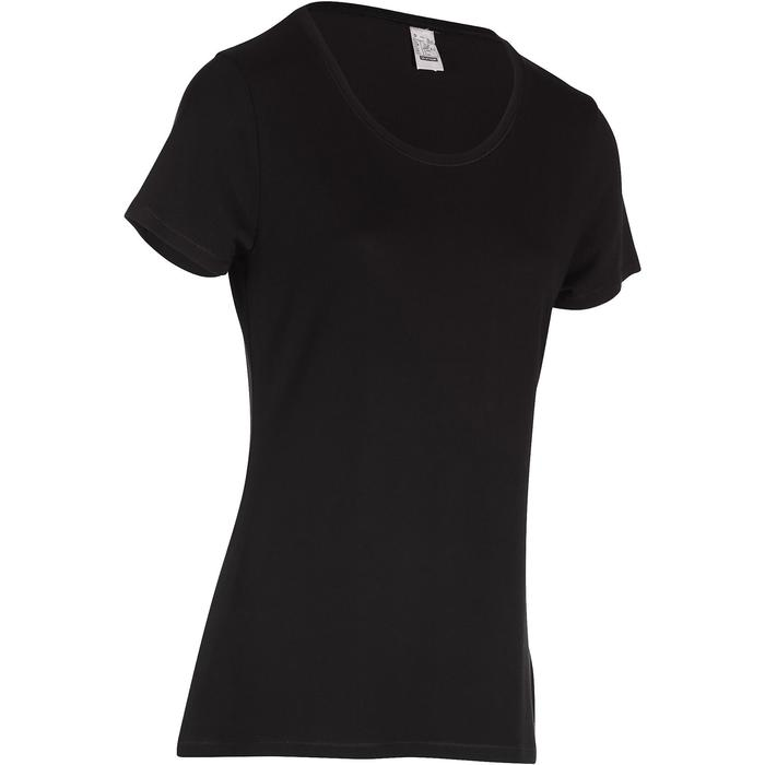 T-Shirt 500 Regular Gym Stretching Damen schwarz