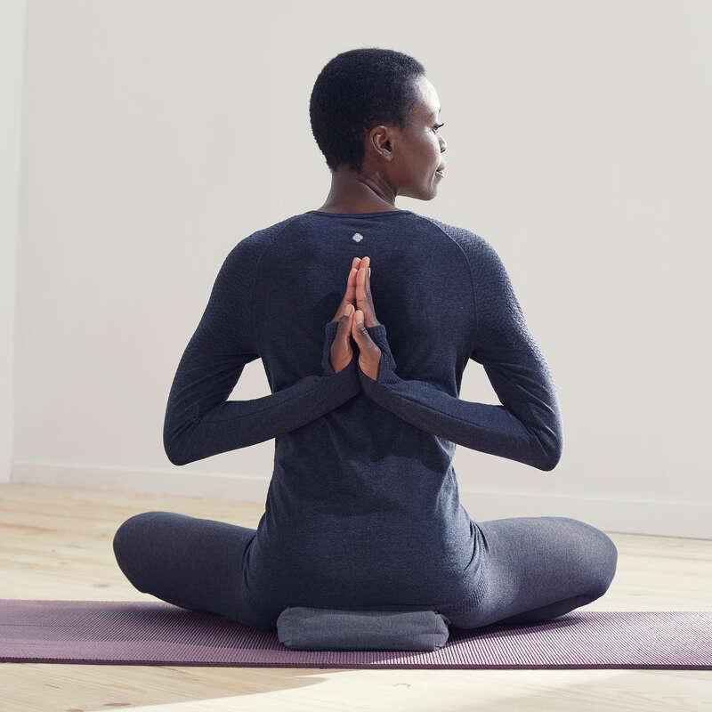 WOMAN YOGA APPAREL Clothing - Long-Sleeved Yoga T-Shirt DOMYOS - By Sport