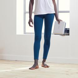 Malla yoga mujer leggins Domyos Tech algodón Bio azul