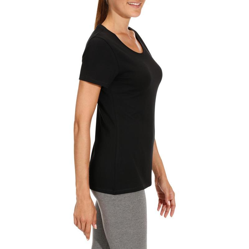 Domyos Gimnasia Y Manga Camiseta Pilates Regular Mujer 500 Negro Corta qHwXnOnE