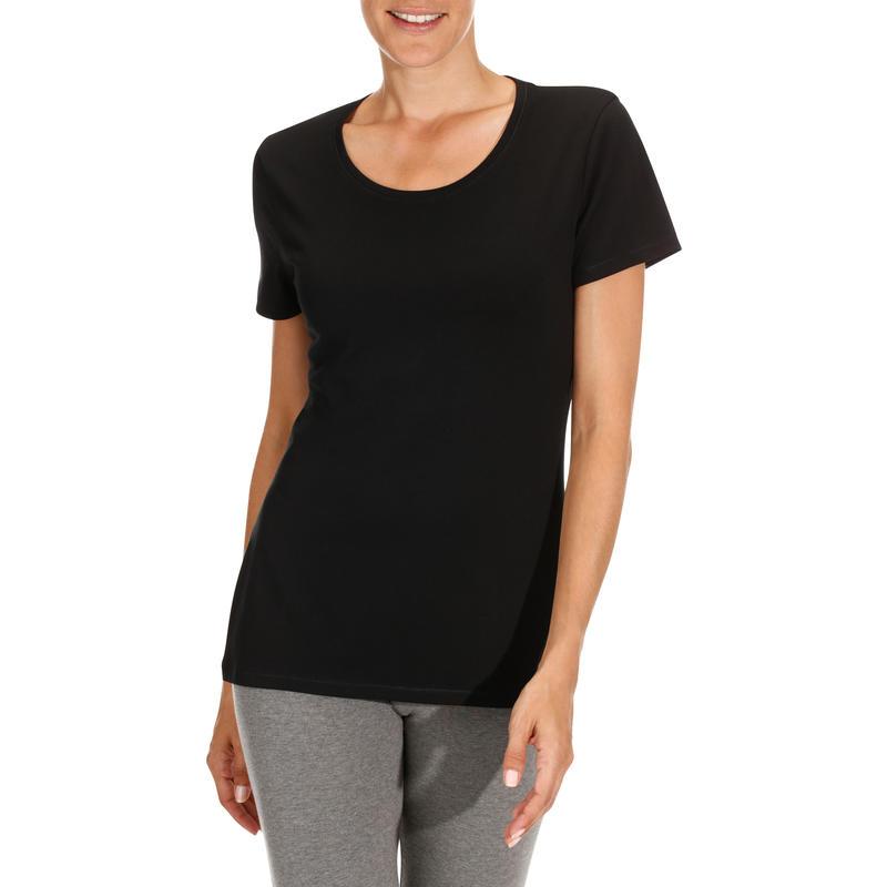 Women's Regular-Fit Short-Sleeved Gym & Pilates T-Shirt - Black