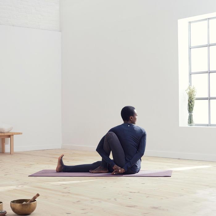 Naadloze legging voor zachte yoga dames grijs/bordeaux