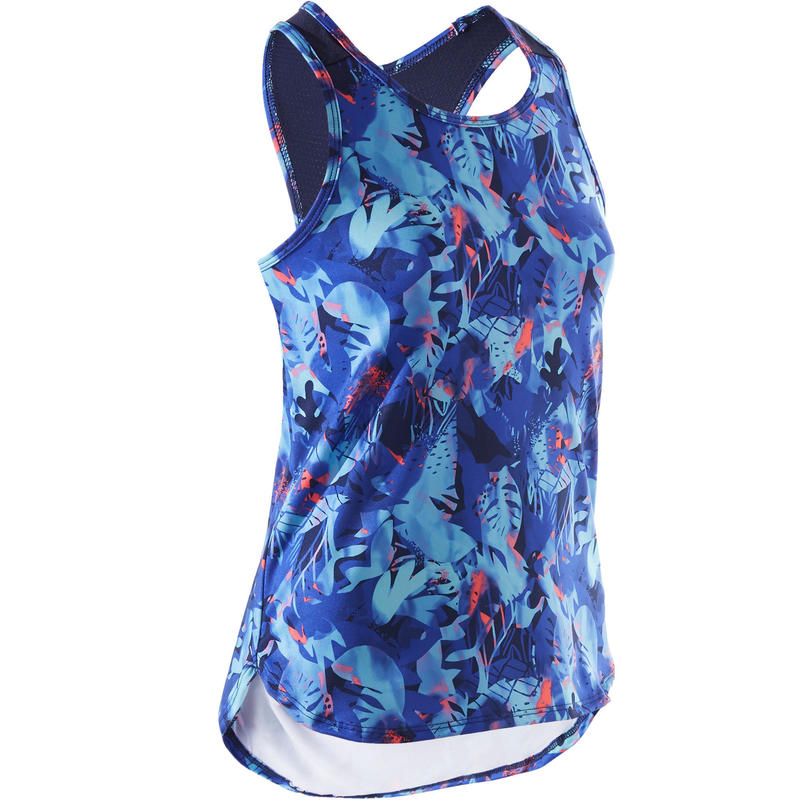Girls' Breathable Synthetic Gym Tank Top S500 - Purple Print