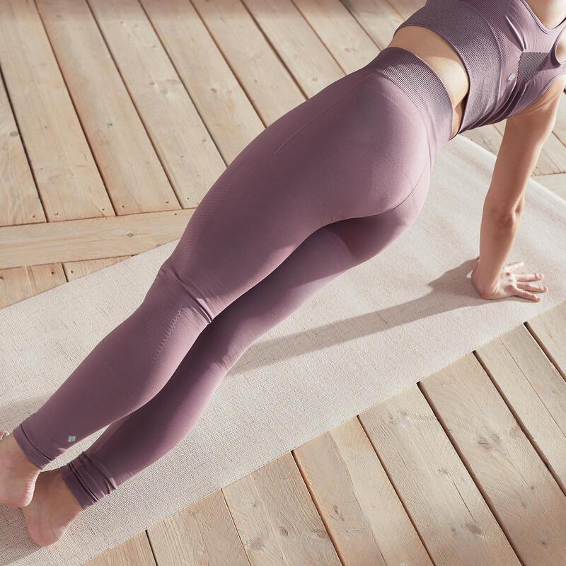 Long Seamless Yoga Leggings - Purple/Grey