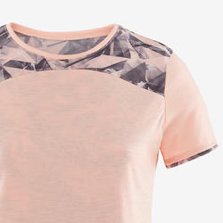 Girls' Breathable Cotton Short-Sleeved Gym T-Shirt 500 - Heathered Pink AOP