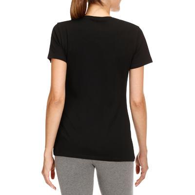 Camiseta 500 regular de Pilates y Gimnasia suave mujer negro