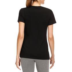 T-shirt 500 regular fit pilates en lichte gym dames zwart