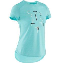Ademend T-shirt met korte mouwen voor gym meisjes 500 blauw/opdruk