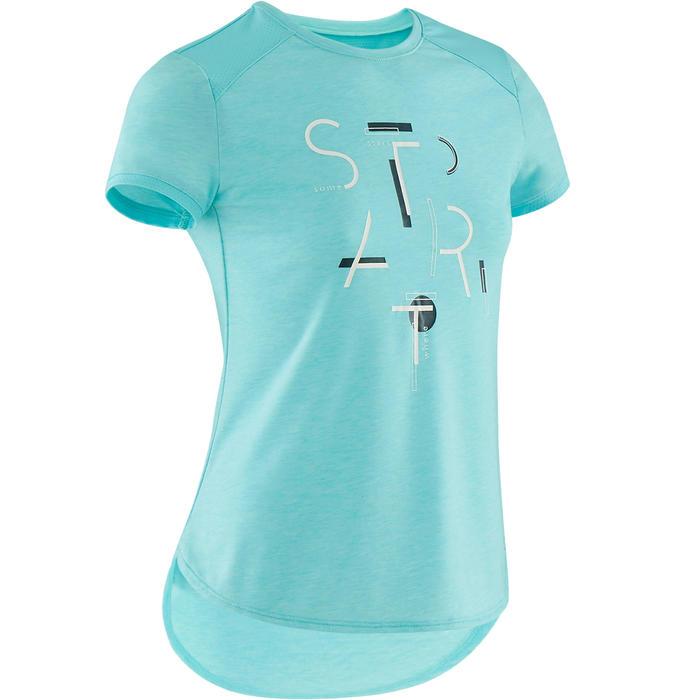 T-shirt manches courtes respirant 500 fille GYM ENFANT bleu imprimé