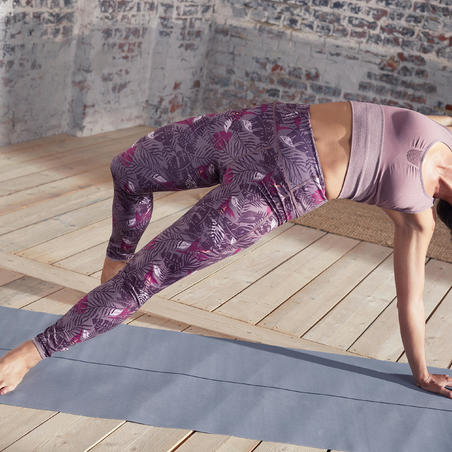 Reversible Dynamic Yoga Leggings - Purple/Grey