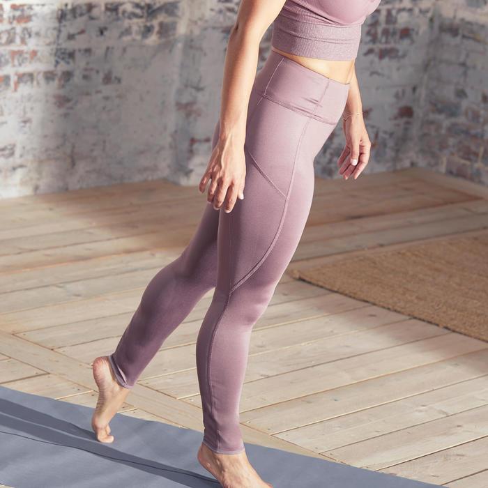 Mallas Leggings deportivos Reversibles Yoga Domyos mujer estampado morado