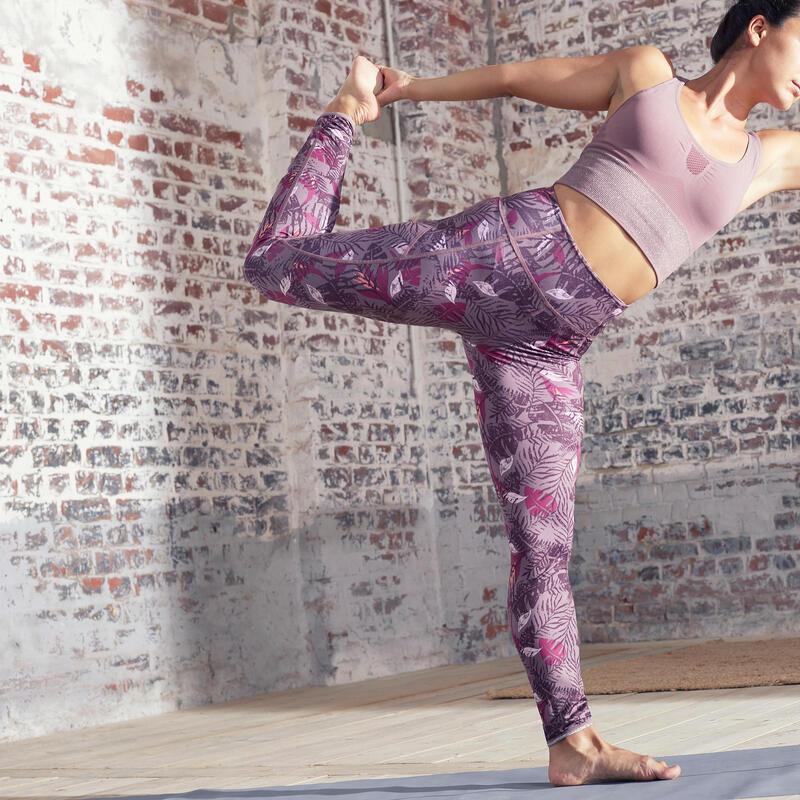 Leggings Mallas Compresión Mujer Yoga reversibles morado