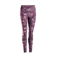 Omkeerbare legging voor dynamische yoga paars/grijs