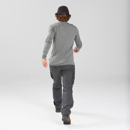 Men's Travel Trekking Cargo Trousers - TRAVEL 100 Grey