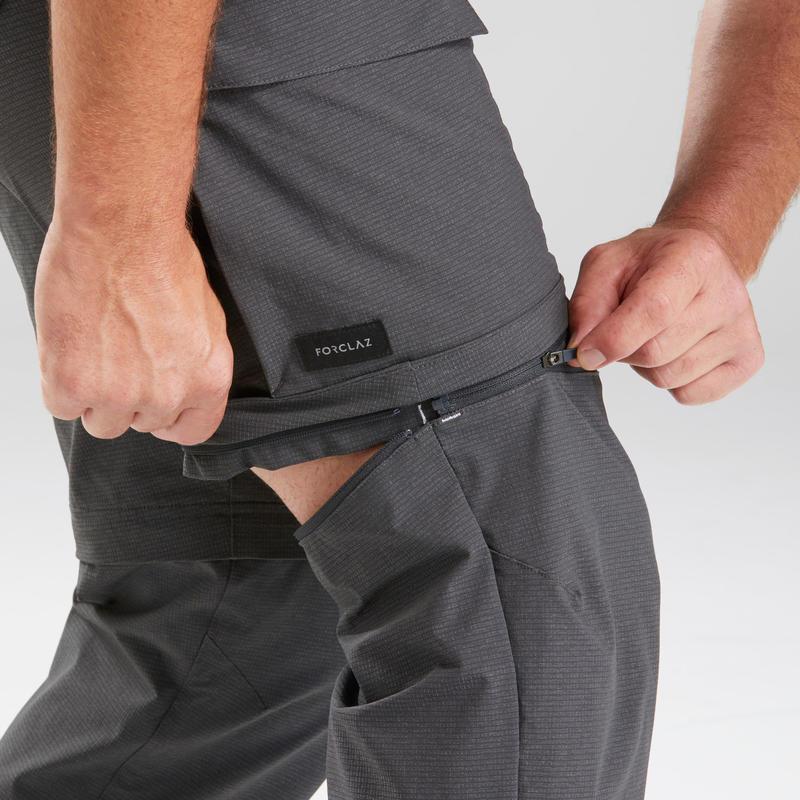 กางเกงขายาวผู้ชายแบบถอดขาได้สำหรับเทรคกิ้งรุ่น TRAVEL 500 CONVERT (สีเทาเข้ม)
