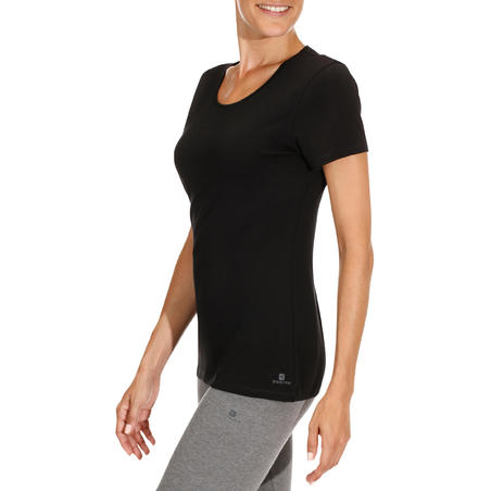 500 Women's Regular-Fit Gentle Gym & Pilates T-Shirt - Black
