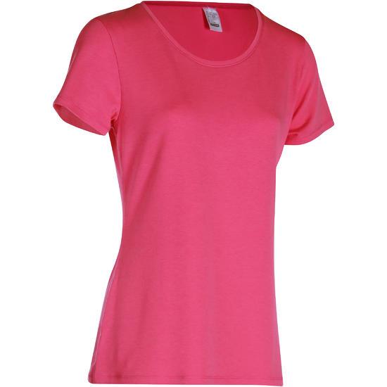 Dames T-shirt met korte mouwen voor gym en pilates, regular fit, gemêleerd - 178691