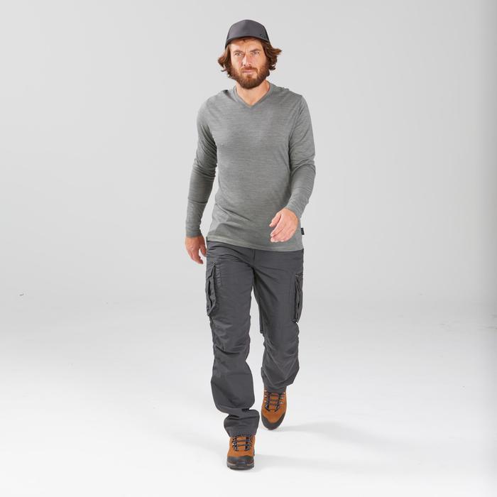 Pantalon cargo de trek voyage - TRAVEL 100 gris homme
