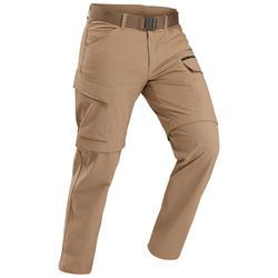 Pantalon modulable de trek voyage - TRAVEL 500 MODUL camel homme