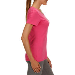 Dames T-shirt met korte mouwen voor gym en pilates, regular fit, gemêleerd - 178692
