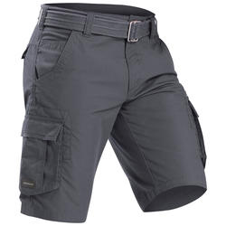 Cargoshort voor backpacken heren Travel 100 grijs