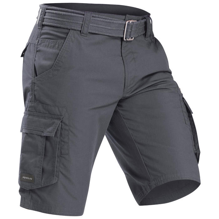 Short cargo de trek voyage - TRAVEL 100 gris homme