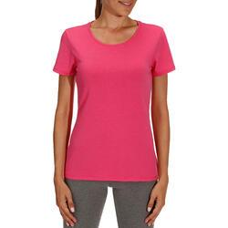 Dames T-shirt met korte mouwen voor gym en pilates, regular fit, gemêleerd - 178693