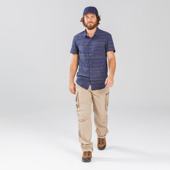 Chemise manches courtes TRAVEL100 fresh homme rayée bleu