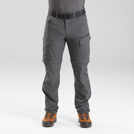 Celana trekking pria yang dapat dikonversi- TRAVEL 500 CONVERT - Abu-abu tua