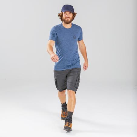 Men's Travel Trekking Cargo Shorts - TRAVEL 100 - Grey
