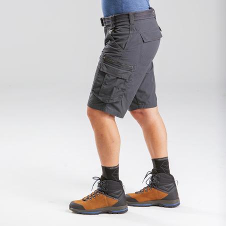 Celana pendek trekking perjalanan pria - TRAVEL 100 - Abu-abu