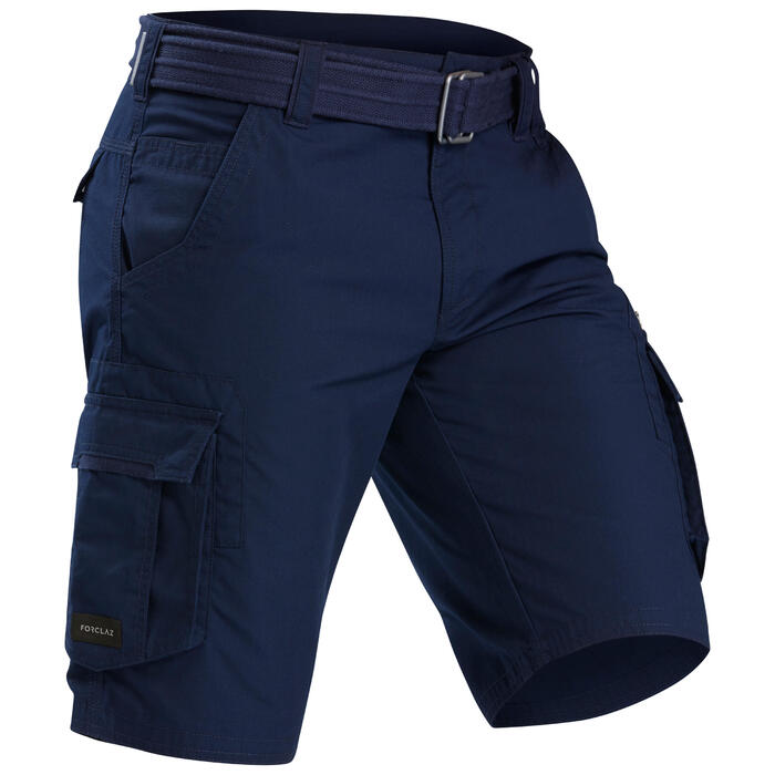 Cargoshort voor trekking heren TRAVEL 100 blauw