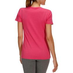Dames T-shirt met korte mouwen voor gym en pilates, regular fit, gemêleerd - 178697