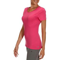 Dames T-shirt met korte mouwen voor gym en pilates, regular fit, gemêleerd - 178699
