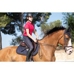 Polo manches courtes équitation femme 500 MESH framboise