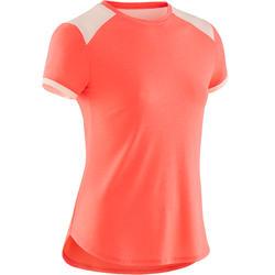 女童透氣短袖健身T恤500 - 霓虹粉