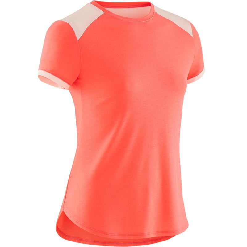 Ademend T-shirt met korte mouwen voor gym meisjes 500 fluoroze
