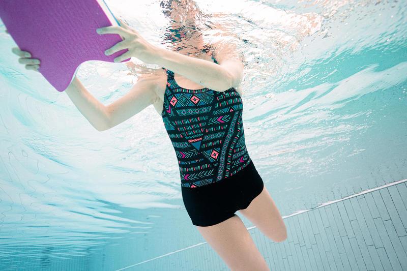 Women Swimming costume shorty - black printed