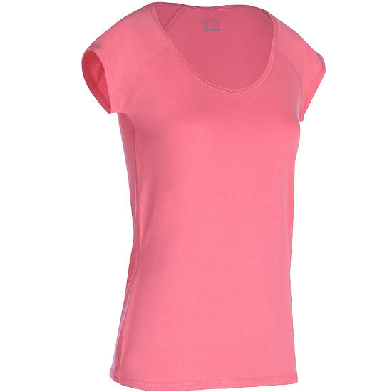 Dames T-shirt voor gym en pilates, slim fit - 178713