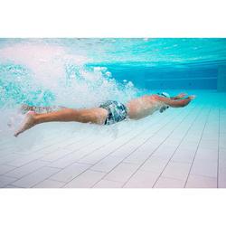 男款四角泳褲100-藍迷彩卡其色