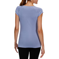 Dames T-shirt voor gym en pilates, slim fit - 178750