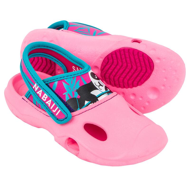 Papuci înot CLOG 500 Imprimeu Panda Roz Fete