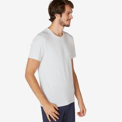 男款修身剪裁皮拉提斯與溫和健身運動T恤500 - 白色