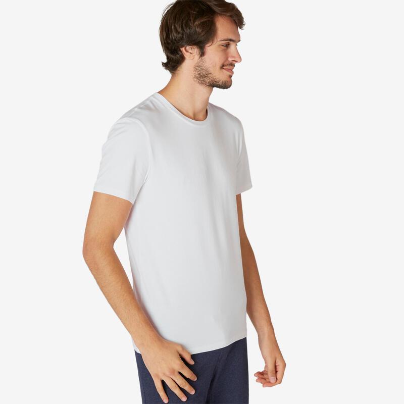 T-shirt voor pilates en lichte gym heren 500 rekbaar katoen slim fit wit