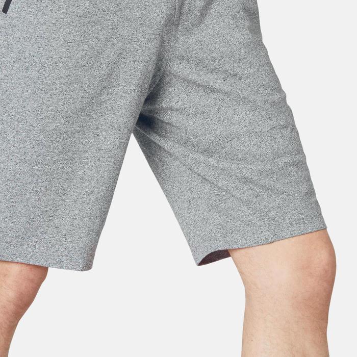 男款修身剪裁長版溫和健身與皮拉提斯短褲520 - 灰色