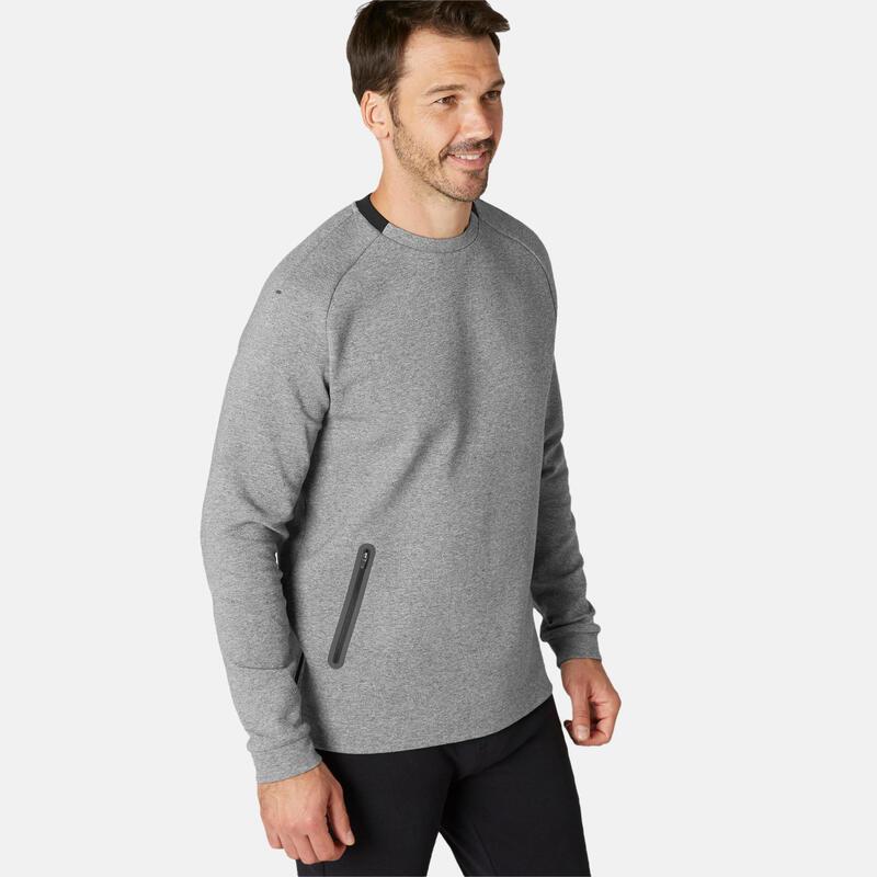 Sweater voor fitness zak met rits grijs
