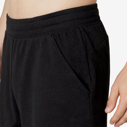 Men's Regular-Fit Long Pilates & Gentle Gym Sport Shorts 500 - Black